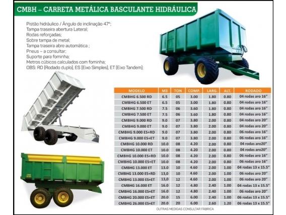 Carreta Metálica Basculante Hidráulica