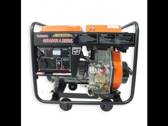Gerador Vge6000D 6000W Bivol Motor Diesel 10Hp Vulcan
